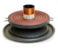 Speaker cone with a coil. The diffuser is a low-frequency. The front side of the low-frequency diffuser with a magnetic coil without plug Royalty Free Stock Photos