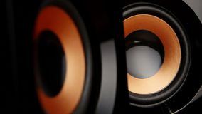 Speaker cone pumping to the sound of the bass. Closeup stock video footage