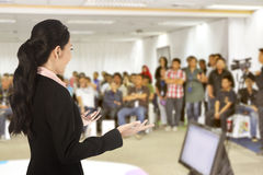 Speaker at conference and presentation. Audience at the conference hall royalty free stock images