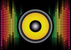 Speaker And Equalizer. Abstract Background - Speaker on Multicolor Equalizer on Black Background / Vector vector illustration