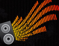 Speaker and Equalizer Audio Background. Red and Yellow Speaker and Equalizer Audio Background Stock Photography