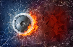 Speaker in fire and water. Speaker on fire and water with lightening around on abstract polygonal background. Horizontal layout with text space Royalty Free Stock Photos