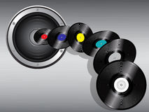 Speaker and flying records Stock Photography