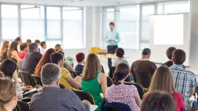 Speaker giving presentation on business conference. Stock Photo