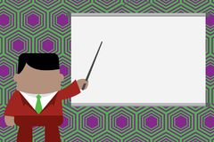 Speaker giving professional training. Executive man standing in front projector screen. Businessman pointing project vector illustration
