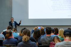Speaker Giving a Talk at Business Meeting. Royalty Free Stock Image