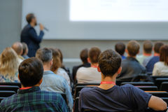Speaker Giving a Talk at Business Meeting. Stock Photo