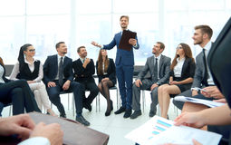Speaker giving a talk on corporate Business Conference.  Busines Royalty Free Stock Image