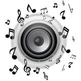 Speaker Glass Button with Music Notes Stock Image