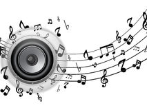 Speaker Glass Button with Music Notes Royalty Free Stock Photos