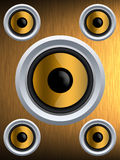 Speaker on a gold metal texture Royalty Free Stock Image