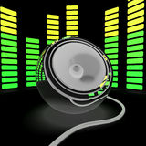 Speaker And Graphic Equalizer Shows Pop Music Or Audio Stock Image