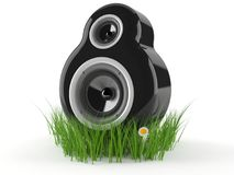 Speaker on grass. Isolated on white background Stock Photos