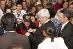 The speaker greets a war veteran. Stock Photography