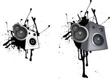 Speaker grunge illustration Stock Image