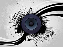 Speaker with grunge wave line Stock Image