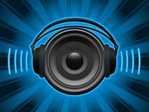 Speaker with headphones Stock Image
