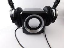 Speaker with headphones Stock Image