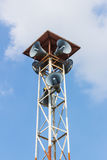 Speaker on high tower clear blue sky Royalty Free Stock Photos