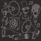 Speaker, horn, microphone and speaker surrounded by music notes on black background. Vector illustration, line icons, set twarning devices. Speaker, horn Royalty Free Stock Photography