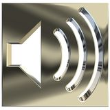 Speaker icon 3D. Speaker symbol 3D rendering on white background Royalty Free Stock Photos