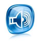 Speaker icon blue glass. Speaker icon blue glass, isolated on white background Royalty Free Stock Photography