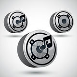 Speaker icon , 3d vector music theme design element. Stock Images