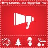 Speaker Icon Vector. And bonus symbol for New Year - Santa Claus, Christmas Tree, Firework, Balls on deer antlers Stock Photography