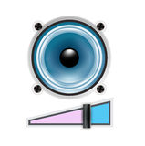 Speaker icon with volume sign isolated Stock Image