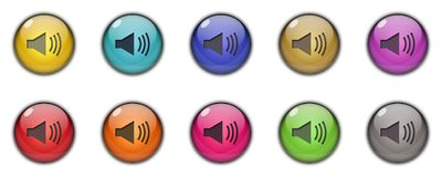 Speaker icons and buttons Multicolor. Speaker icons and buttons Symbol sing 3d Multicolor; goldenm sky blue, dark blue, yellow, purple, red, orange, pink, green Royalty Free Stock Images