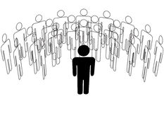 Speaker leader stands in front of people group royalty free illustration