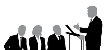 Speaker and Listeners. Silhouettes of speaker and listeners Royalty Free Stock Photos