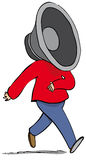 Speaker man. Man walking along with loudspeaker as head Stock Images