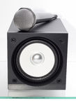 Speaker with microphone. Broadband speaker with microphone on the glass table Stock Photos