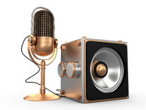 Speaker and microphone, 3D Royalty Free Stock Photos