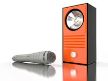 Speaker and microphone, 3D. Speakers and microphone on white, 3D Royalty Free Stock Images