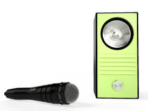 Speaker and microphone, 3D. Speaker and microphone  on white, 3D Stock Images