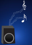 Speaker with music notes. Illustration of speaker with music notes in blue background stock illustration