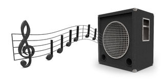 Speaker. With music notes isolated on white background 3D rendering vector illustration