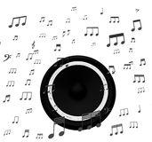 Speaker And Music Notes Shows Soundtrack Disco Or Concert Stock Photo