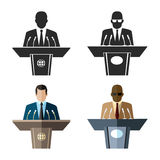 Speaker or orator icon in black and flat style. Microphone and leader business, tribune and presentation, spokesman and conference. Vector illustration Royalty Free Stock Images