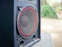 Speaker outdoor closeup. Technology modern Speaker outdoor closeup royalty free stock images