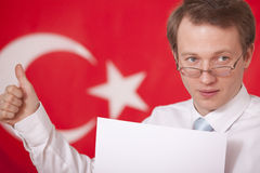 Speaker over turkey flag Stock Photography