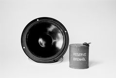 Speaker & petrol can Stock Photo