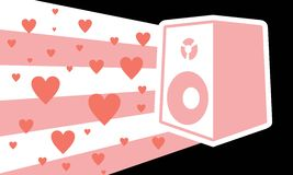 Speaker with pink hearts Royalty Free Stock Photos