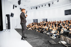 Speaker at Presentation. Speaker at Business convention and Presentation Stock Image