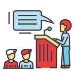 Speaker presentation, podium, tribune stand, politician concept. Stock Image