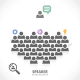 Speaker reads a lecture to an audience. Speaker is reading a lecture to an audience. Orator speaking about nice innovative business ideas Royalty Free Stock Image