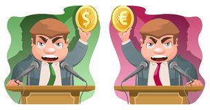 Speaker on the rostrum holds a dollar symbol and  a euro symbol. Speaker on the rostrum holds a dollar symbol and a euro symbol. Cartoon styled vector Royalty Free Stock Images