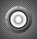 Speaker on seamless circle perforated carbon  background vector Royalty Free Stock Image